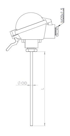 Temperature Sensors Pt100 W M N 8700 4 A Cb 200550c 8x700mm