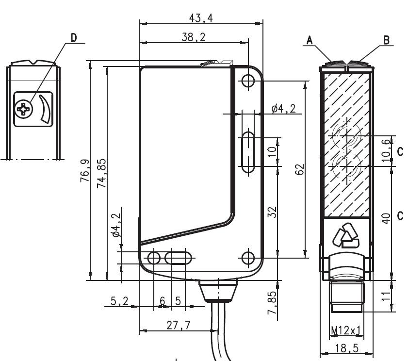Photoelectrical sensor HT46C/4P-M12, diff  BGS, 0 005  3m